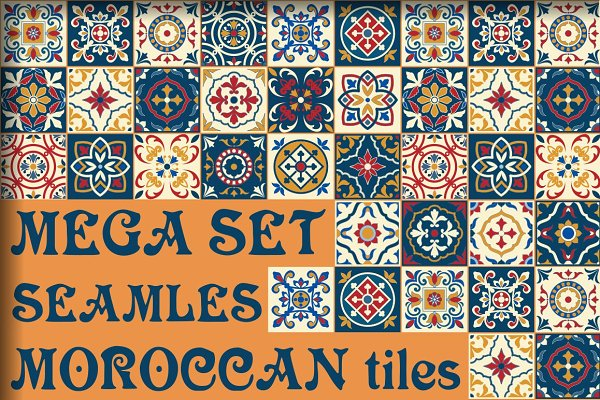 Moroccan tiles, 5 shades seamless