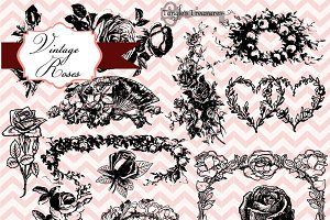 Vintage Roses Clipart & Brushes
