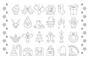 Big collection of Christmas icons.