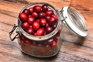 Jar of Fresh Whole Cranberries