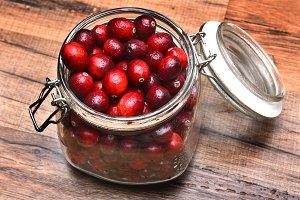 Jar of Fresh Whole Cranberries