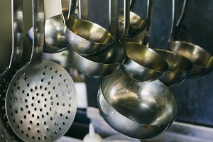 Kitchen utensils hanging