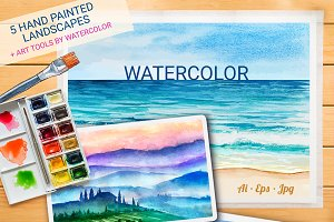 Watercolor Vector Landscapes