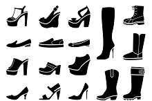 Woman shoes icons set