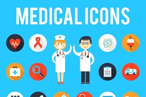 Medical tools and medical staff icon