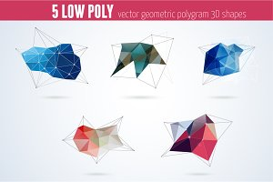 Polygon geometric shapes vector set