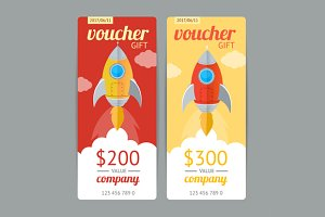 Modern Gift Voucher with Rocket Fly.