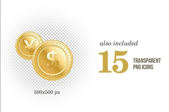 Gold coins with currency symbol