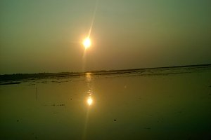 A sunset in haor area