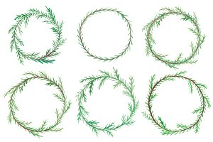 6 Watercolor Christmas wreaths set