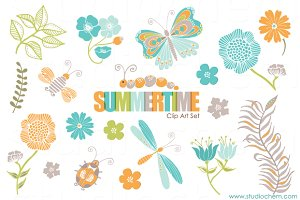Summertime Clip Art & Pattern Set
