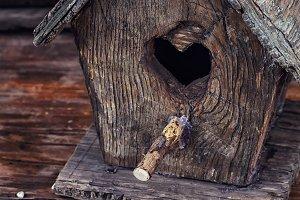 retro wooden birdhouse