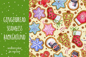 Gingerbread seamless background