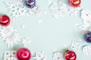 Christmas snowflakes balls on blue