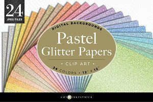 Pastel Glitter Paper Pack • Digital