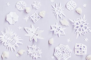 Christmas snowflakes mock up