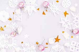 Christmas snowflakes paper mock up