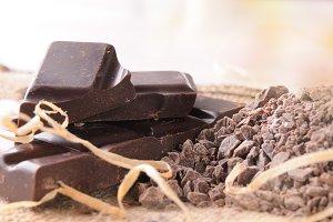 Artisan chocolate broken stack