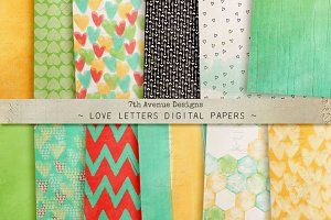 Love Letters Digital Papers