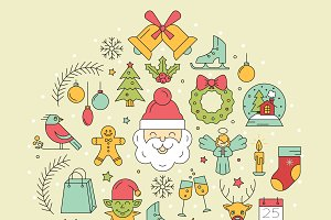 Line Christmas icons.