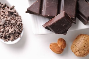 Chocolate portions with almonds top