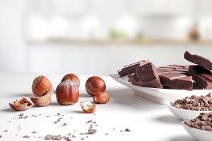 Chocolate, hazelnuts,  front kitchen