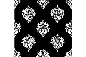 Black and white classic flowers seam
