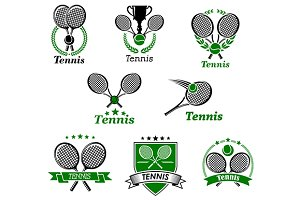 Tennis emblems or logo in retro styl