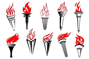 Torches with red flame icon set