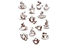 Fragrant coffee in retro style icon