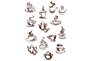 Fragrant coffee in retro style icon
