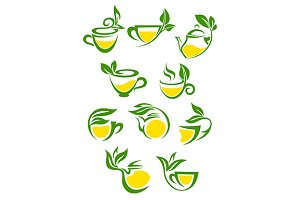 Green or herbal tea with lemon icon