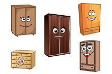 Smiling cartoon cupboards set