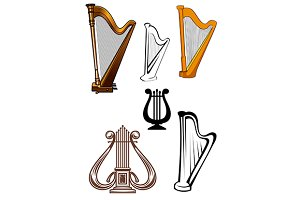Stringed musical instruments icons s