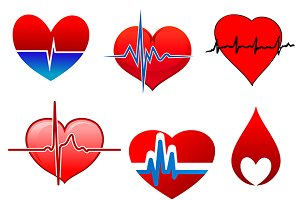Cardigram on red hearts icons set