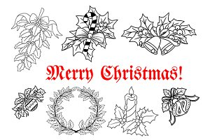 Outline of Christmas decorations set