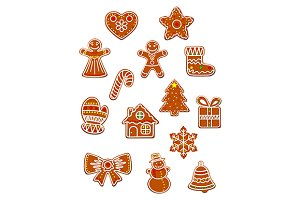 Gingerbread Christmas figures set
