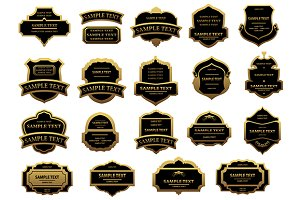 Golden and black vintage labels set