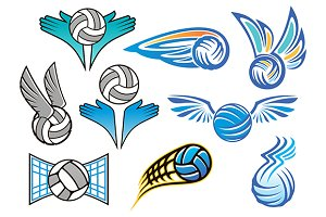 Volleyball ball emblems collection