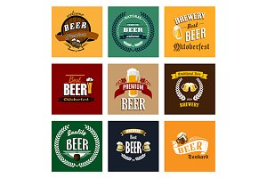 Vintage beer labels and emblems coll