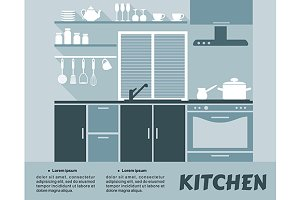 Modular kitchen interior in flat des