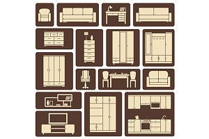 Furniture flat design icons set