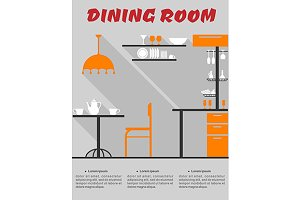 Dining room interior in flat format