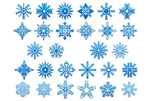 Blue snowflakes icon set