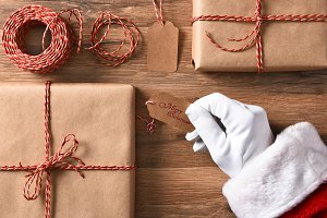 Santa Claus Wrapping Presents