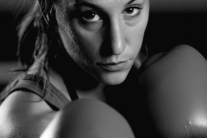 Portrait of young female boxer