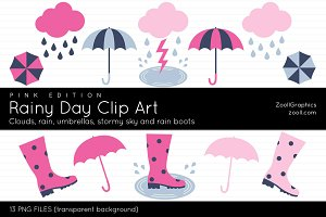 Rainy Day Clip Art Pink