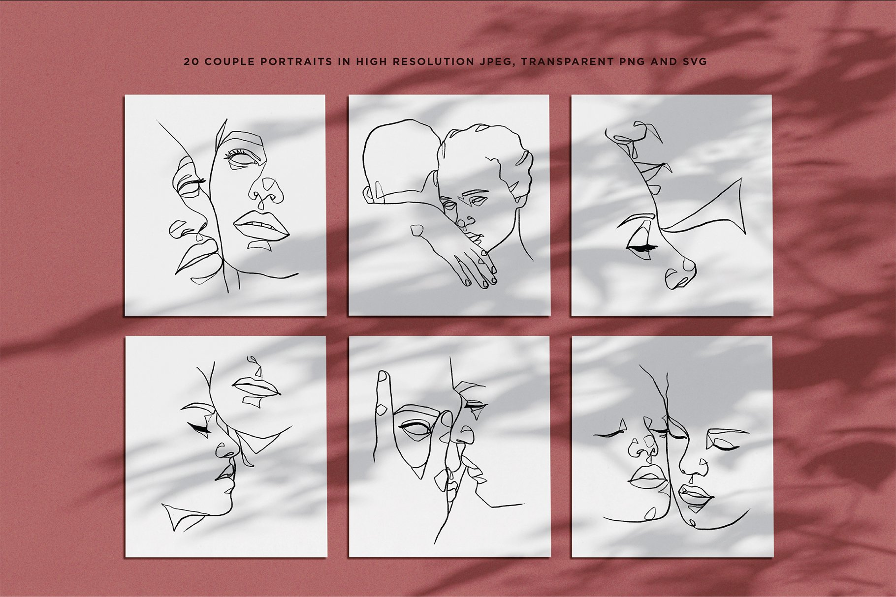 abstract one line couple portrait drawings previews 03