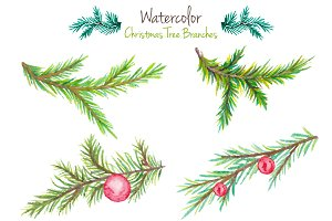 Watercolor Christmas tree branches