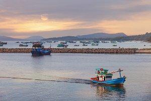 Sunset in the ocean, Vietnam